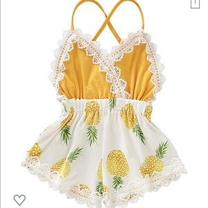 Other - Pineapple Romper Lace Trim | 18 months